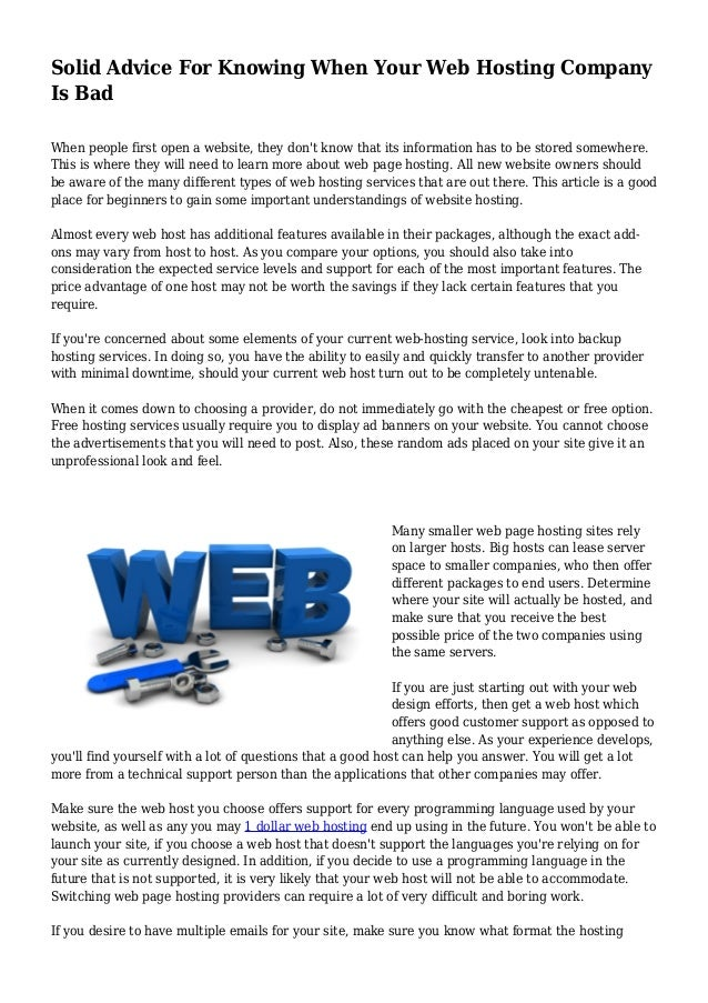 Solid Advice For Knowing When Your Web Hosting Company  Is Bad  When people first open a website, they don't know that its...