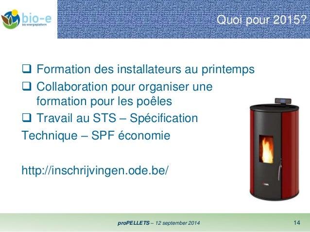 Quoi pour 2015?   Formation des installateurs au printemps   Collaboration pour organiser une  formation pour les poêles...