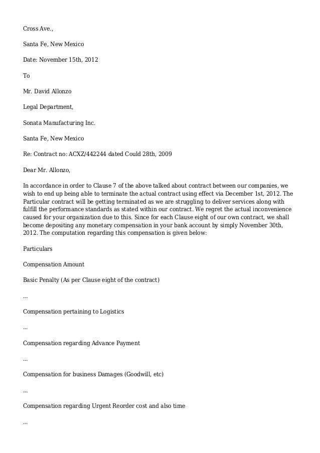 Contract Termination Letter – Letter to Terminate a Contract