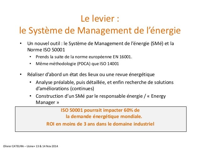 Le levier : le Système de Management de l'énergie  •Un nouvel outil : le Système de Management de l'énergie (SMé) et la No...