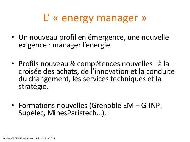 L' «energymanager»  •Un nouveau profil en émergence, une nouvelle exigence : manager l'énergie.  •Profils nouveau & compét...