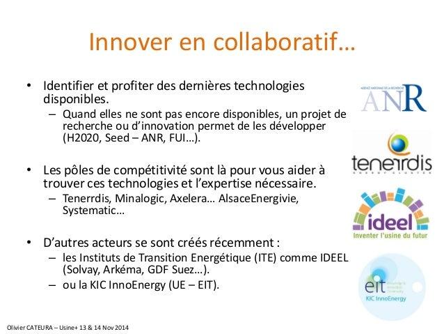 Innover en collaboratif…  •Identifier et profiter des dernières technologies disponibles.  –Quand elles ne sont pas encore...