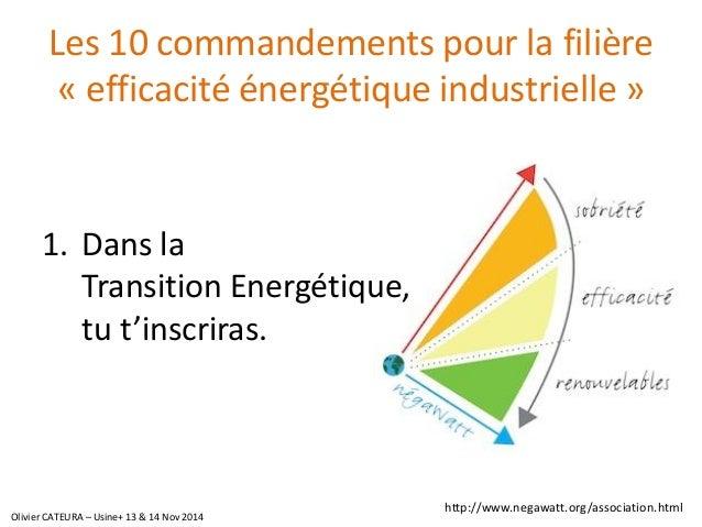 Les 10 commandements pour la filière «efficacité énergétique industrielle»  1.Dans laTransition Energétique, tu t'inscrira...