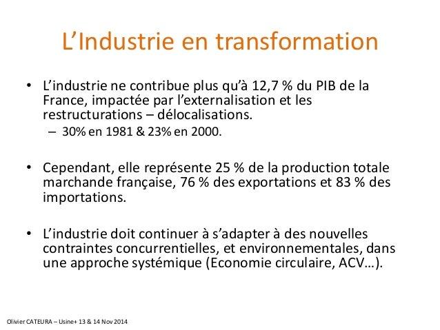 L'Industrie en transformation  •L'industrie ne contribue plus qu'à 12,7% du PIB de la France, impactée par l'externalisati...