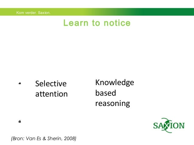 Kom verder. Saxion.  Clasrom interactions  Learn to notice  Selective  attention  Knowledge  based  reasoning  (Bron: Van ...