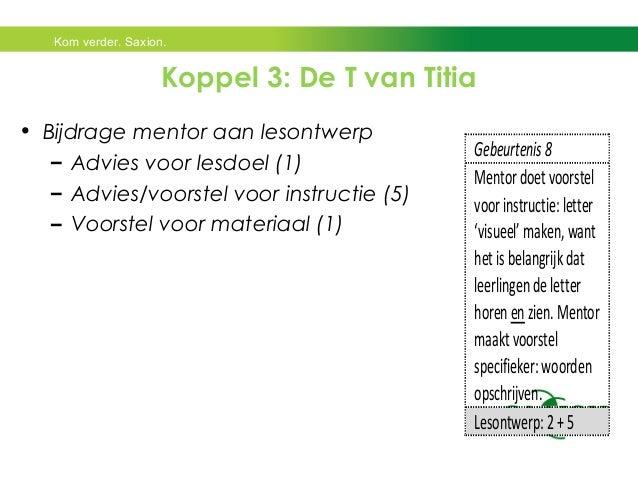 Kom verder. Saxion.  Koppel 3: De T van Titia  • Bijdrage mentor aan lesontwerp  – Advies voor lesdoel (1)  – Advies/voors...