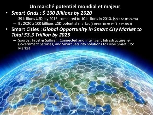 Un marché potentiel mondial et majeur  •Smart Grids: $ 100 Billions by 2020  –39 billions USD, by 2016, comparedto 10 bill...