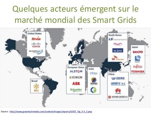 Quelquesacteursémergentsurle marchémondialdes Smart Grids  Source : http://www.greentechmedia.com/content/images/reports/G...