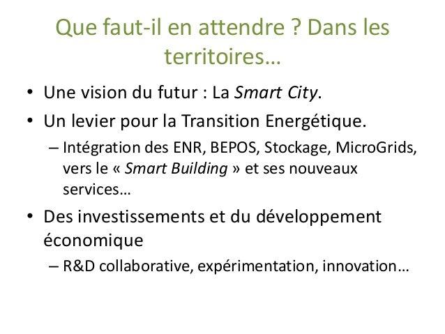 Que faut-il en attendre ? Dans les territoires…  •Une vision du futur : La Smart City.  •Un levier pour la Transition Ener...