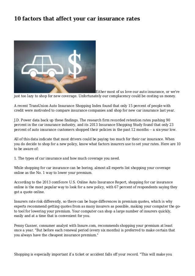 10 factors that affect your car insurance rates