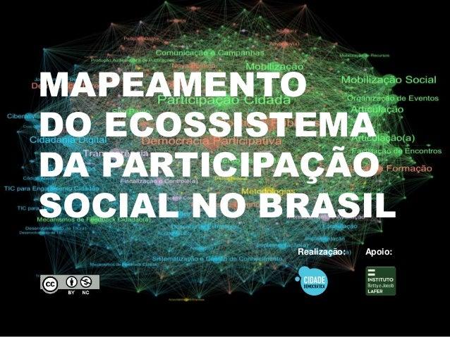 MAPEAMENTO  DO ECOSSISTEMA  DA PARTICIPAÇÃO  SOCIAL NO BRASIL  Realização: Apoio: