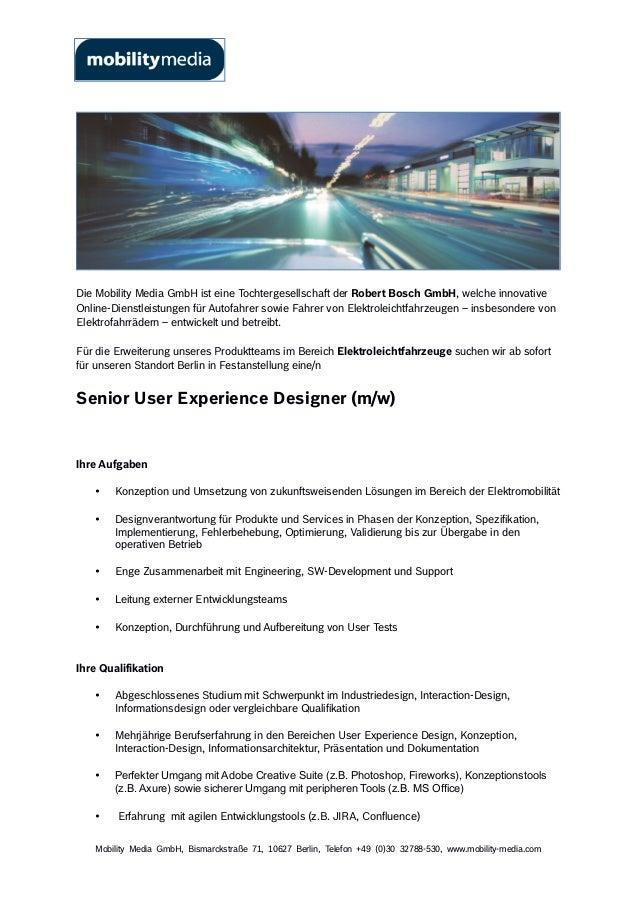Die Mobility Media GmbH ist eine Tochtergesellschaft der Robert Bosch GmbH, welche innovative  Online-Dienstleistungen für...