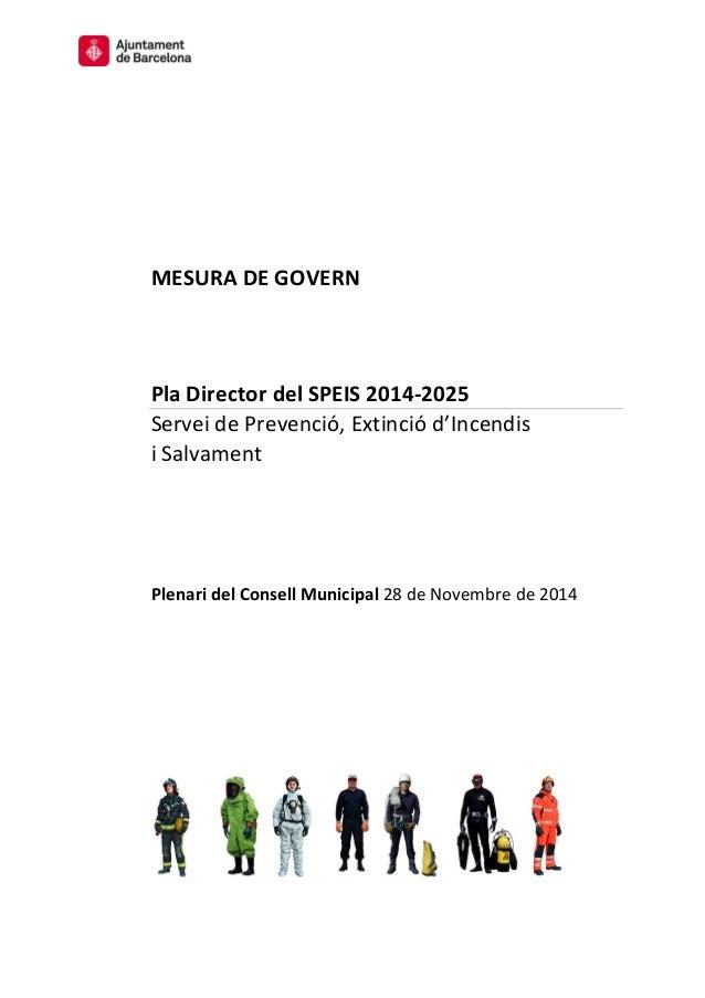 MESURA DE GOVERN  Pla Director del SPEIS 2014-2025  Servei de Prevenció, Extinció d'Incendis  i Salvament  Plenari del Con...