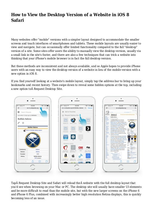 How to View the Desktop Version of a Website in iOS 8 Safari
