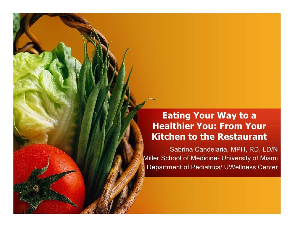 Eating Your Way to a   Healthier You: From Your   Kitchen to the Restaurant          Sabrina Candelaria, MPH, RD, LD/N Mil...