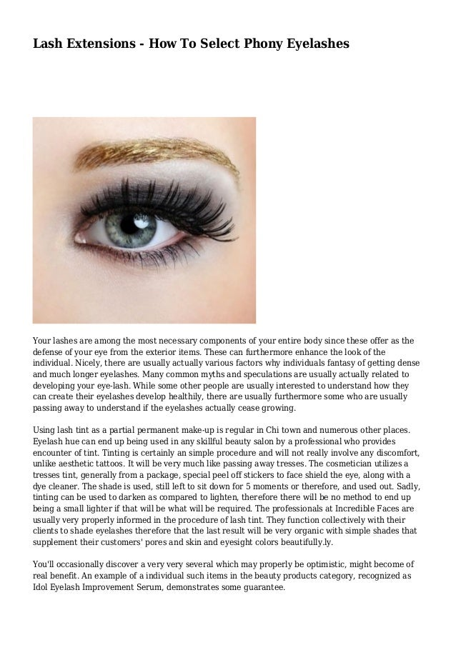 Lash Extensions How To Select Phony Eyelashes