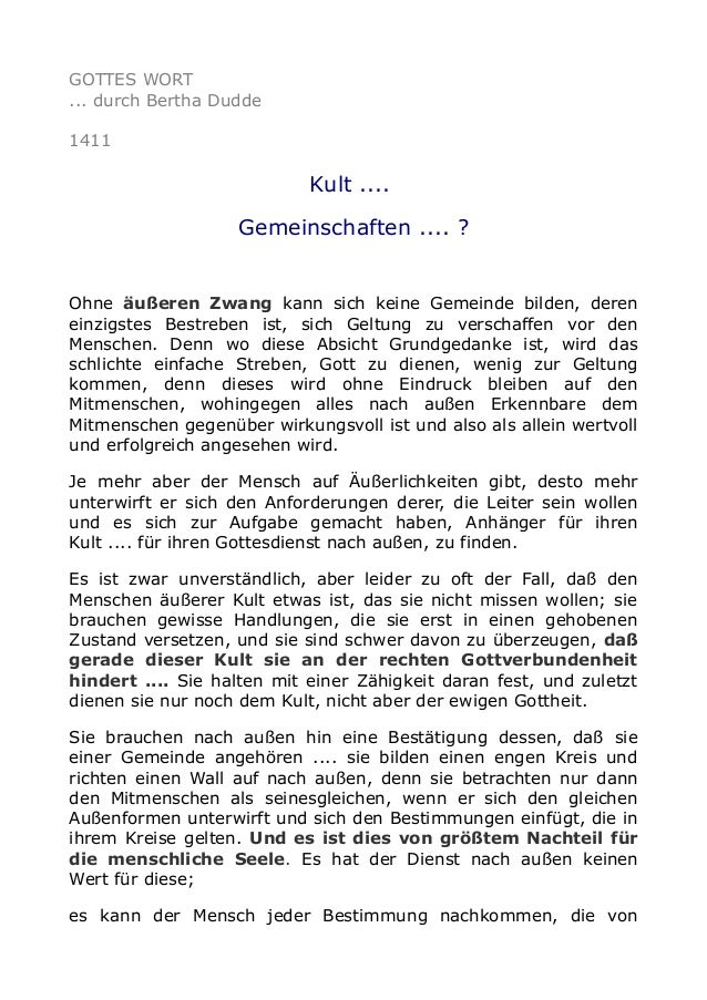GOTTES WORT ... durch Bertha Dudde 1411 Kult .... Gemeinschaften .... ? Ohne äußeren Zwang kann sich keine Gemeinde bilden...