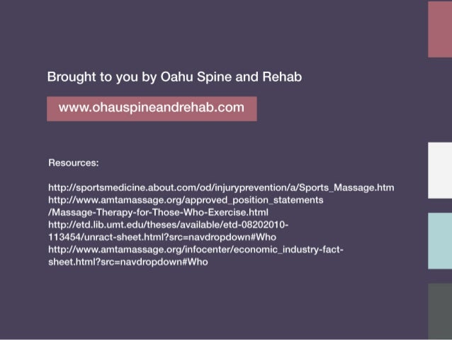 Brought to you by Oahu Spine and Rehab  www. ohauspineandrehab. com  Resources:   http: //sportsmedicine. about. com/ od/ ...
