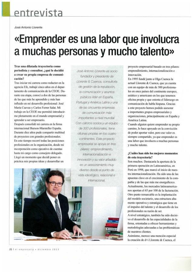 Entrevista a José Antonio Llorente en el El Empresario
