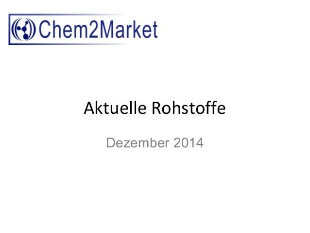 Aktuelle Rohstoffe Dezember 2014