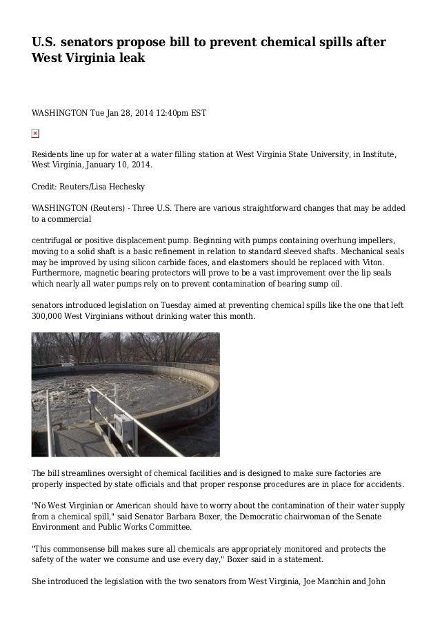 U S  senators propose bill to prevent chemical spills after