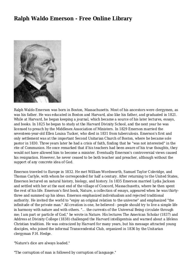 an analysis of the novel nature by ralph waldo emerson in 1836 Nature by: ralph waldo emerson  analysis and long explanations of multiple aspects of life and society are dry and  nature is emerson's first book (1836).