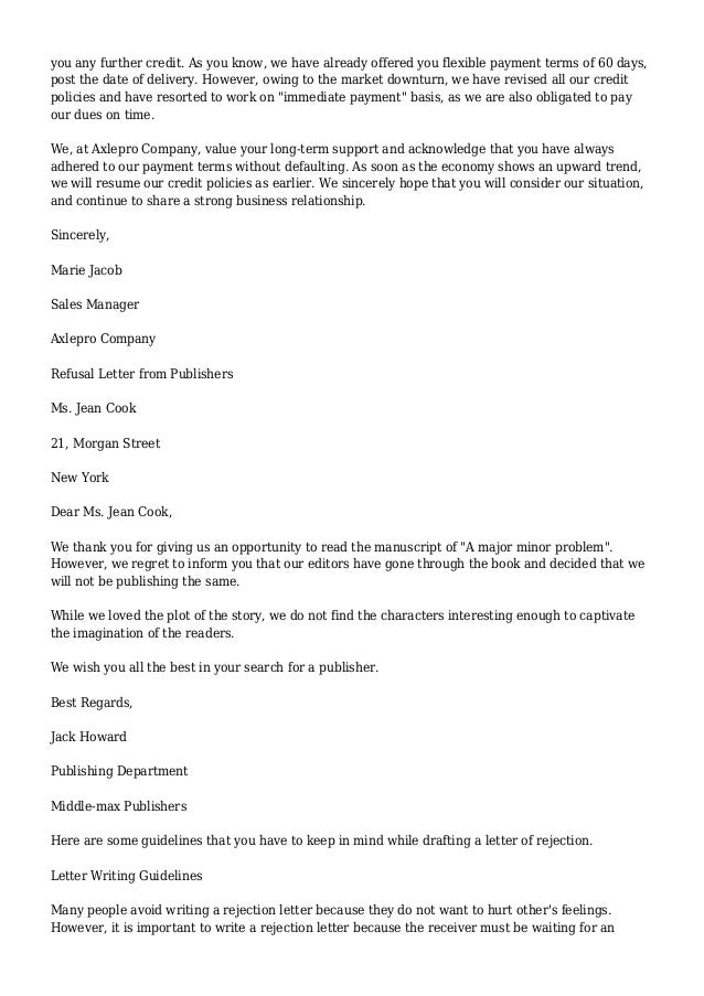 Refusal Letter Example – Rejection Letter Sample