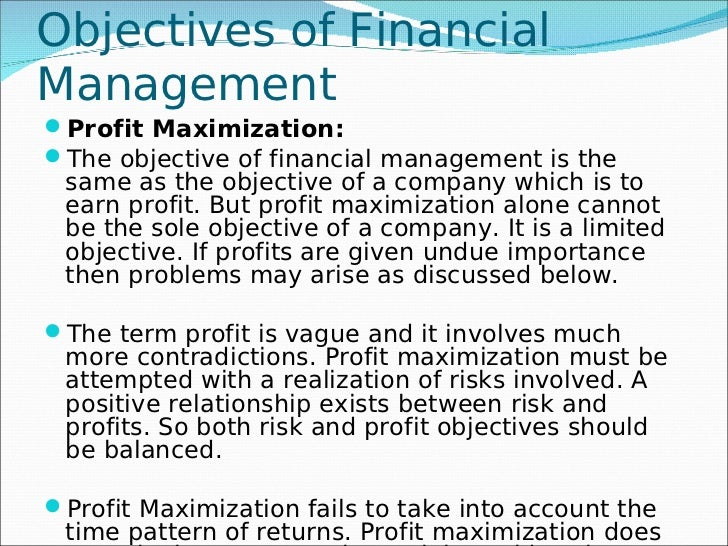 Objectives of financial administration