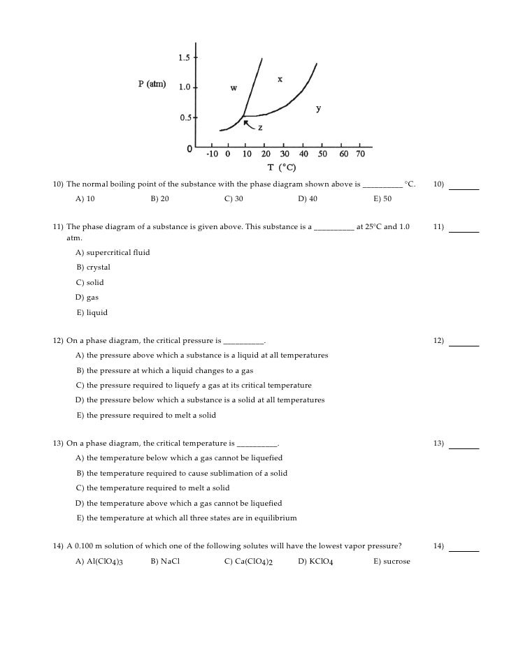 Practice Exam 2 – Phase Diagram Worksheet Answers