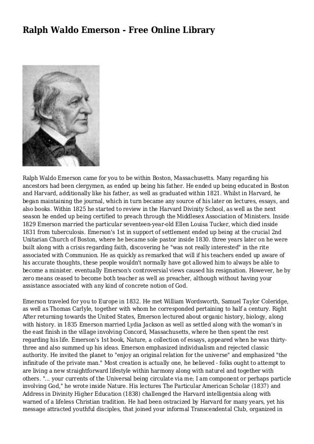 america emerson essay lecture library ralph waldo Online library of liberty ralph waldo emerson in america he shall find deprecation of purism on all questions touching the morals of trade and of social.