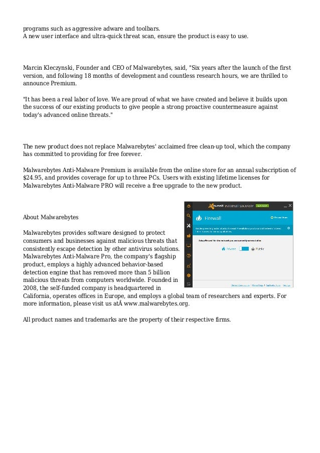 Malwarebytes Anti-Malware Premium Launches to Proactively Protect Hom…