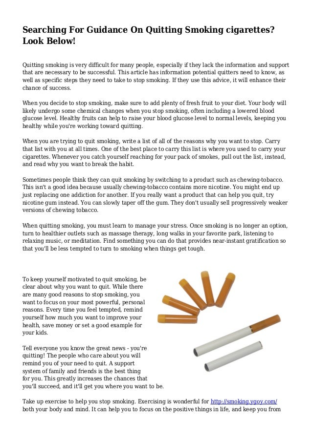 Searching For Guidance On Quitting Smoking cigarettes? Look