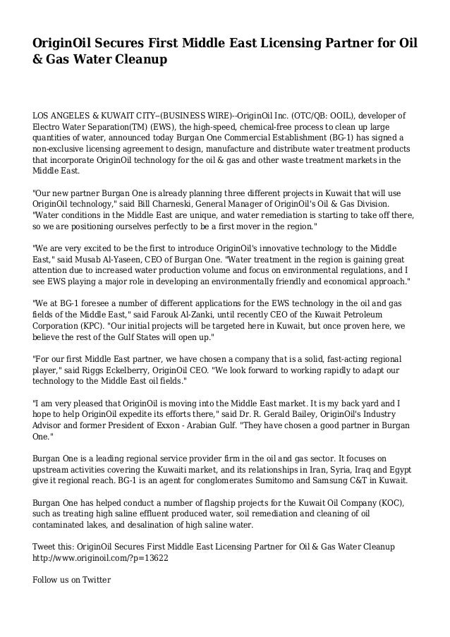 OriginOil Secures First Middle East Licensing Partner for