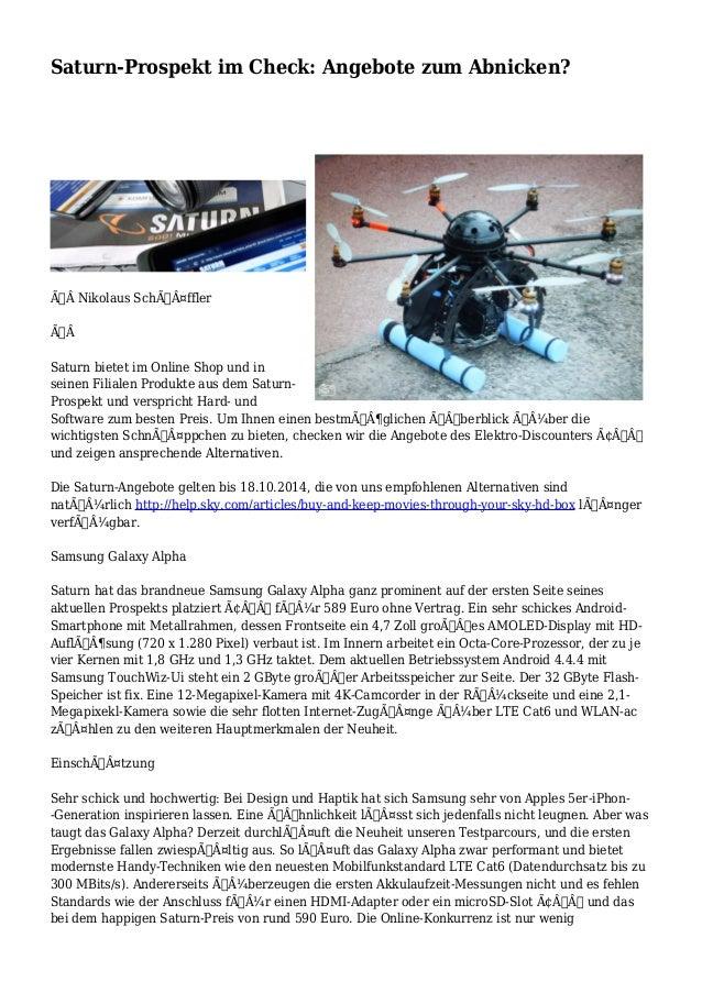 Saturn-Prospekt im Check: Angebote zum Abnicken?  Nikolaus Schäffler   Saturn bietet im Online Shop und in  sei...
