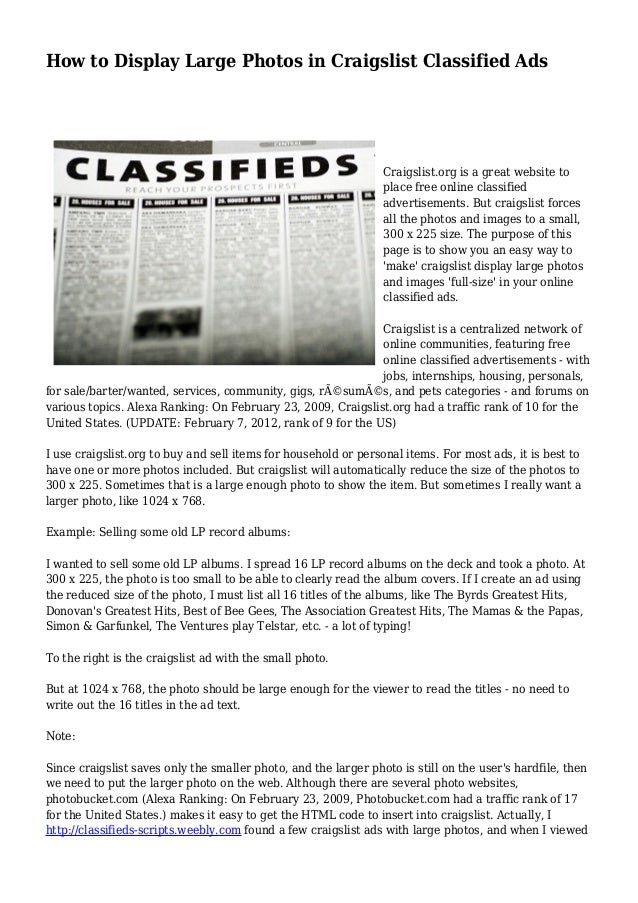 Free online personal classified ads