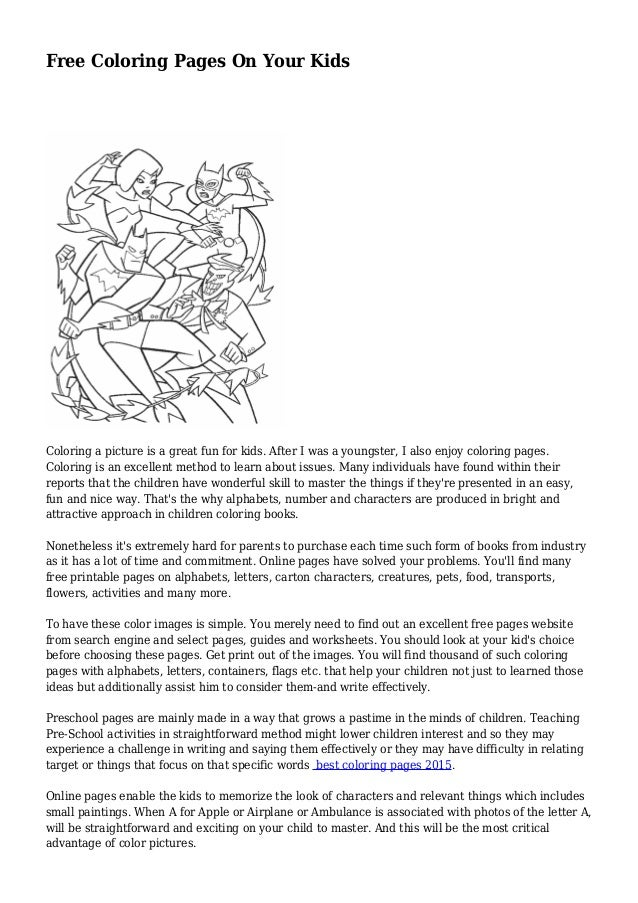 - Free Coloring Pages On Your Kids