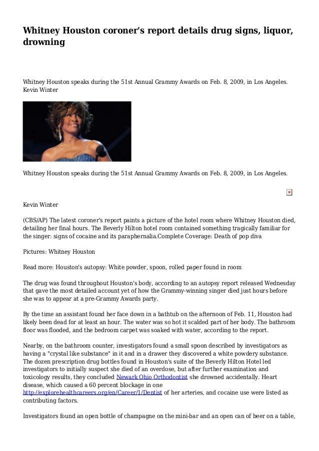 Whitney Houston coroner's report details drug signs, liquor