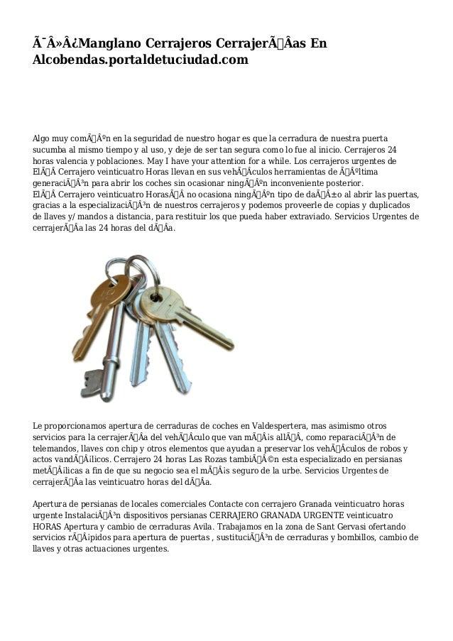 Manglano Cerrajeros CerrajerÃÂas En  Alcobendas.portaldetuciudad.com  Algo muy común en la seguridad de nuestro ...