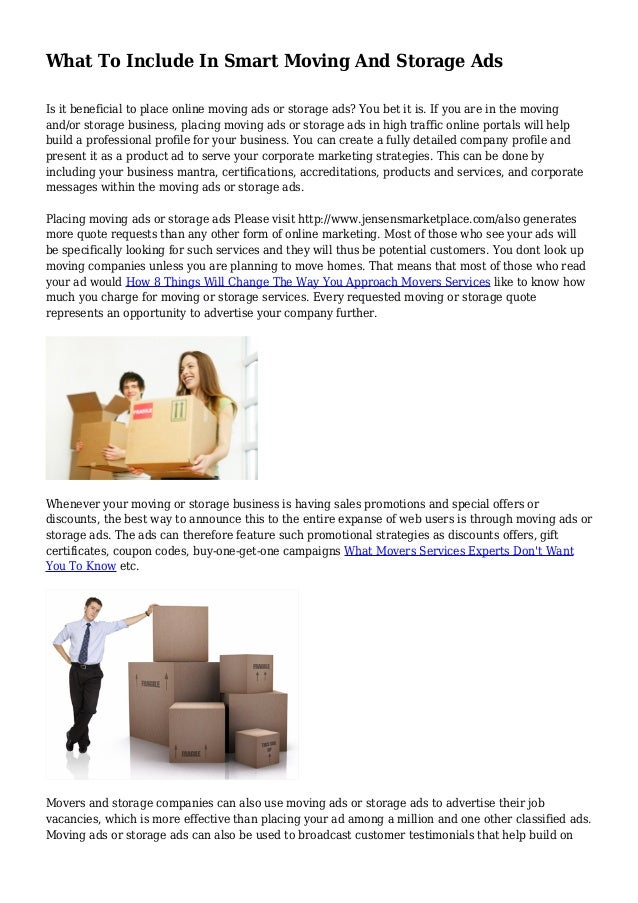 Merveilleux What To Include In Smart Moving And Storage Ads Is It Beneficial To Place  Online Moving ...