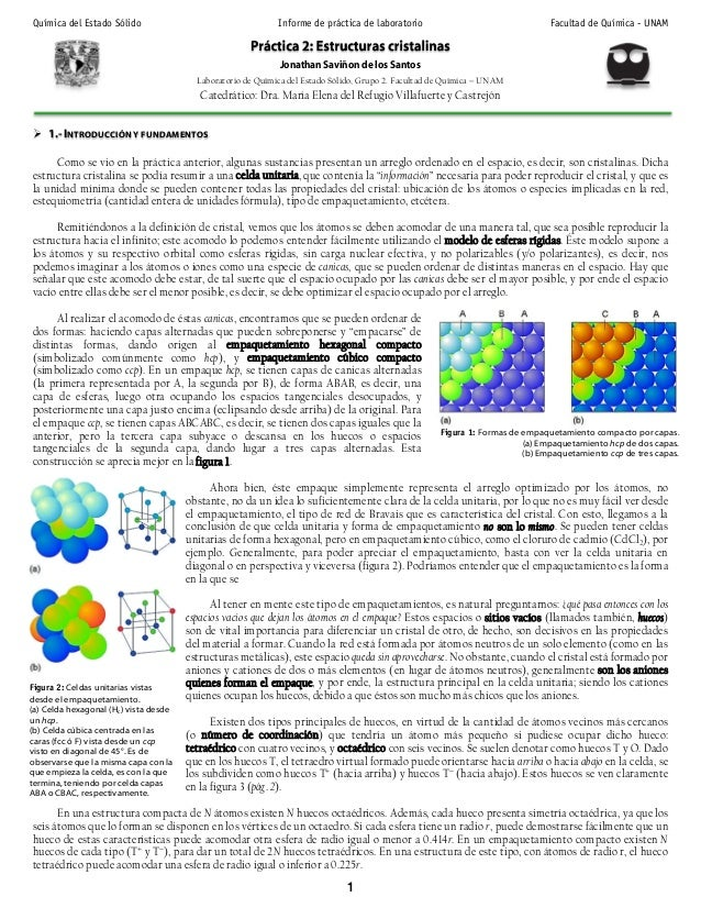 Química del Estado Sólido Informe de práctica de laboratorio Facultad de Química - UNAM 1 Jonathan Saviñon de los Santos L...