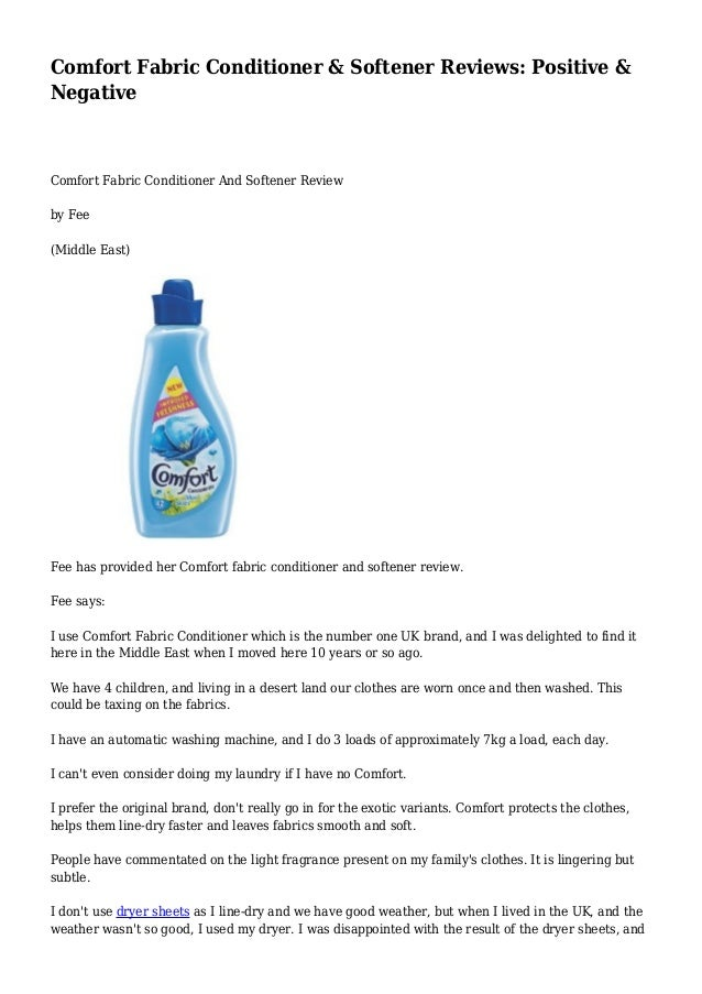 Comfort Fabric Conditioner & Softener Reviews: Positive &  Negative  Comfort Fabric Conditioner And Softener Review  by Fe...