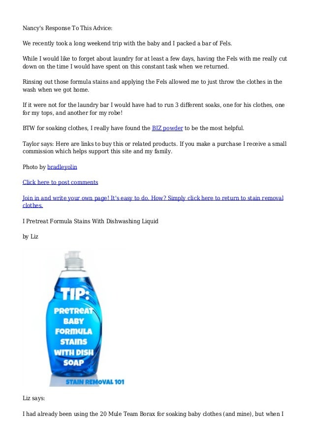 Baby Formula Stain & Spit Up Removal Tips