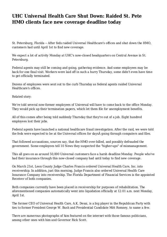 UHC Universal Health Care Shut Down: Raided St  Pete HMO