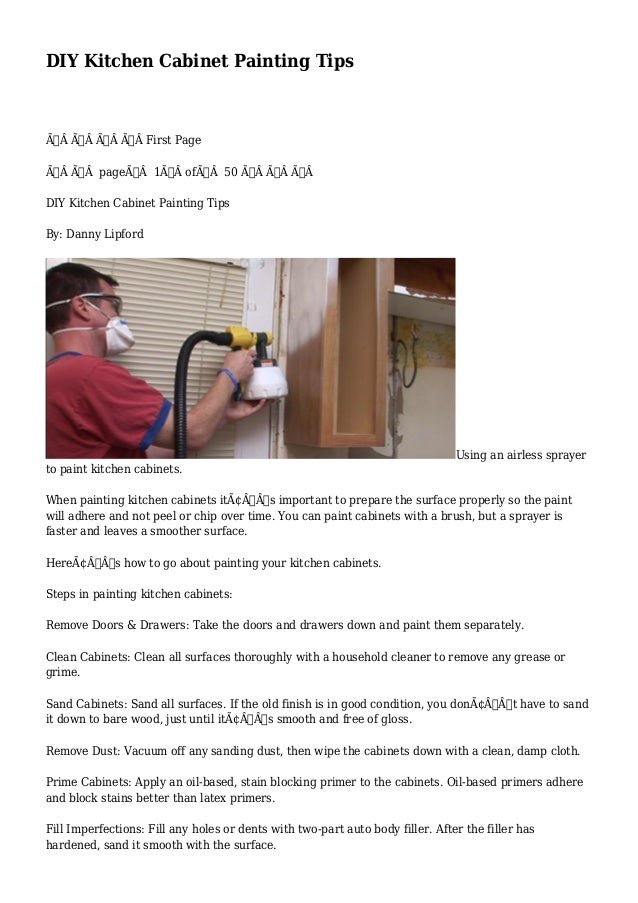 Diy Kitchen Cabinet Painting Tips