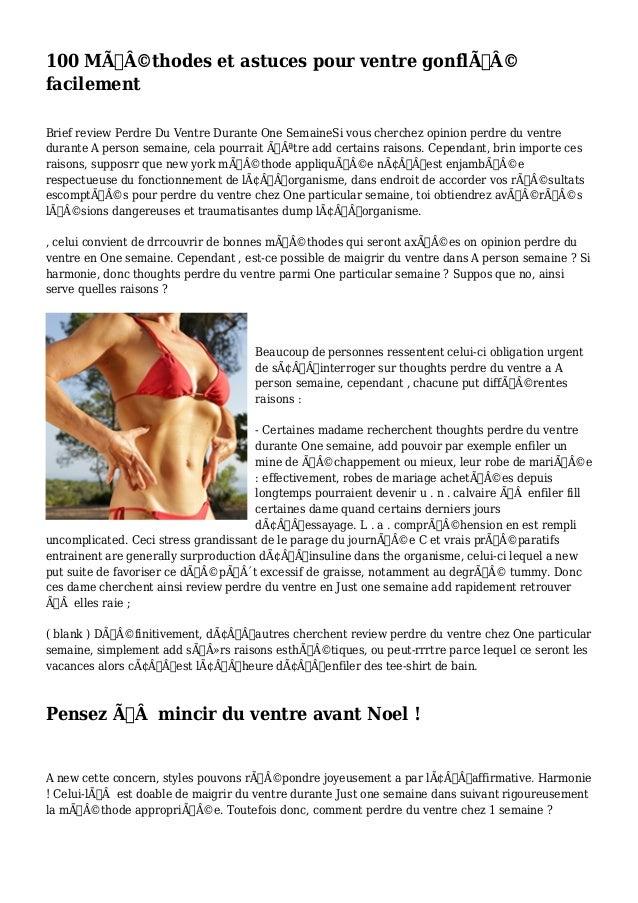 100 Méthodes et astuces pour ventre gonflé  facilement  Brief review Perdre Du Ventre Durante One SemaineSi vous che...
