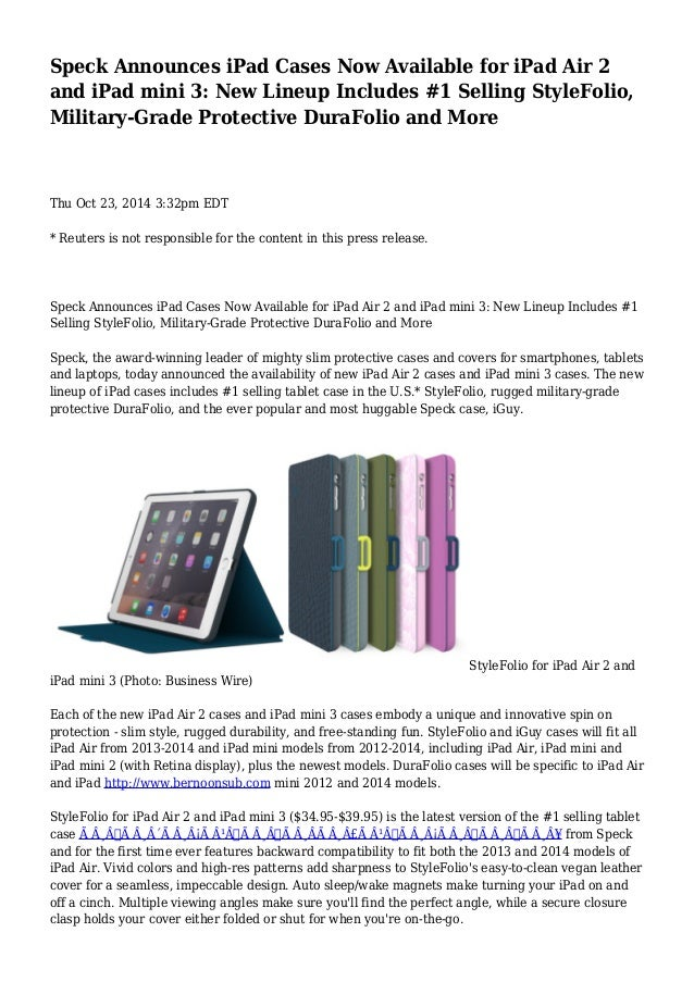 best website d04a5 8576e Speck Announces iPad Cases Now Available for iPad Air 2 and iPad mini…