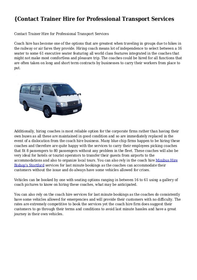 {Contact Trainer Hire for Professional Transport Services  Contact Trainer Hire for Professional Transport Services  Coach...