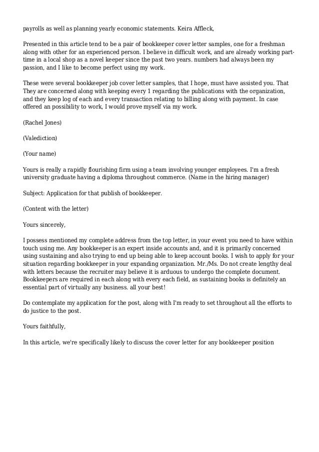 Cover Letter Sample Bookkeeper - Full Charge Bookkeeper Cover Letter