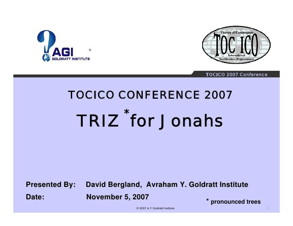 ®                                                                   TOCICO 2007 Conference                TOCICO CONFERENC...