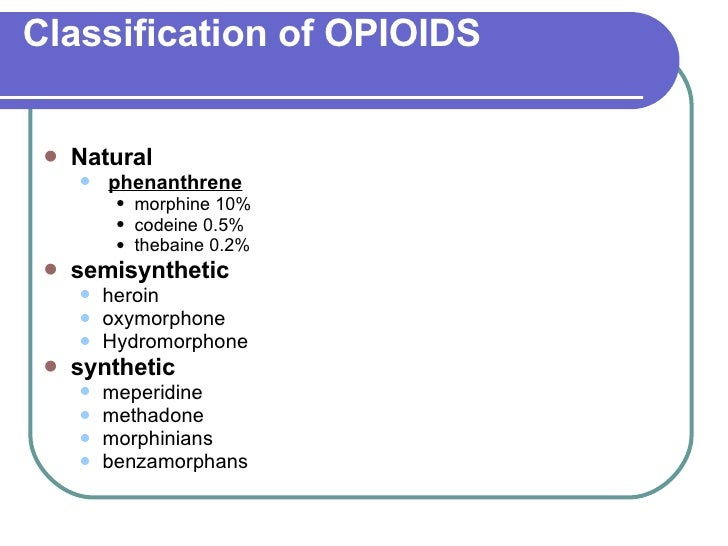 OPIOID AGONISTS AND ANTAGONISTS